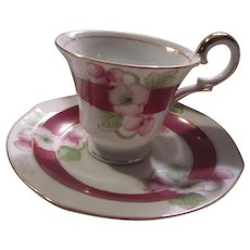 Ucagco Occupied Japan Demitasse Cup Saucer Pink Flowers  Dining