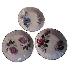 Set 3 Bone China Floral Plates Miniature Pin Dish