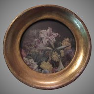 Florentine Hand Painted Gold Gilt Frame Miniature Floral Italy Art