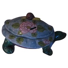Turtle Covered Bowl Or Incense Potpourri Figurine