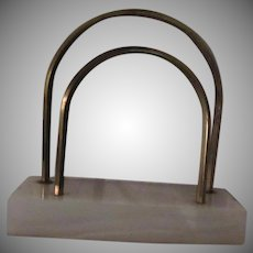 Art Deco Marble and Brass Letter Mail Holder Desk Accessory