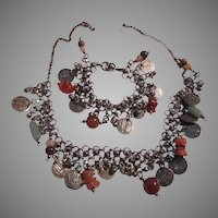 Belly Dance Ethnic Style Necklace Bracelet Set Jewelry