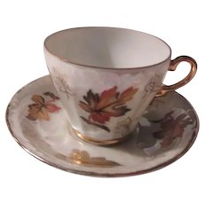 Autumn Leaves Demitasse Cup Saucer Set