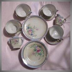 Hand Painted  Porcelain  Miniature Childrens Tea Set  Sugar Creamer Cup & Saucer Sets Plates & Platter  15 pc set