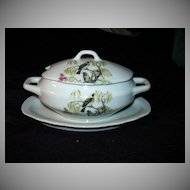Miniature or Childrens China Soup Tureen With Attached Underplate Pink Roses Dining