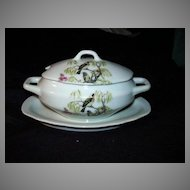 Miniature or Childrens China Soup Tureen With Birds Attached Underplate  Roses Dining