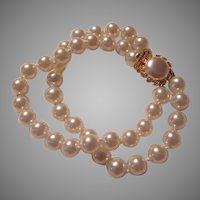 Costume Pearls Double Strand Bracelet Button Pearl Clasp