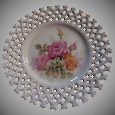 Lefton Plate Hand Painted Flowers Lattice Pierced Border
