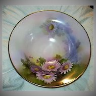 Hand Painted Artist Signed Noritake Japan Footed Bowl Fine Dining China art