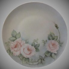 Germany Hand Painted Roses Plate Signed M Strauss
