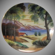 Hand Painted Signed Plate Ocean Mountains Scene