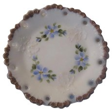 White Milk Glass Plate Blue Flowers