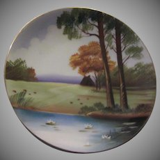 Occupied Japan Hand Painted Pond Scene Water Lilies Andrea