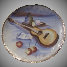 Hand Painted Signed Decorative Plate Guitar Japan