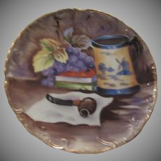 Hand Painted Signed Decorative Plate Smoking Pipe Grapes