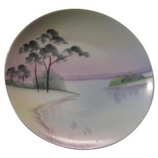 Meito Japan Hand Painted Plate Trees Lake
