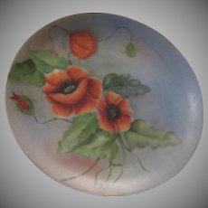 Red Poppies Poppy Hand Painted Signed Plate