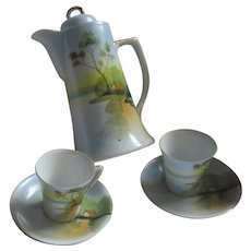 Hand Painted Japan Chocolate Pot Pitcher 2 Cups Saucers Set