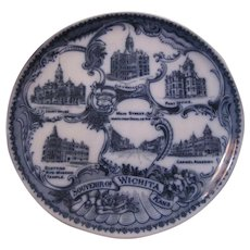 Flow Blue Plate Wheel Lock England Souvenir Wichita Kansas