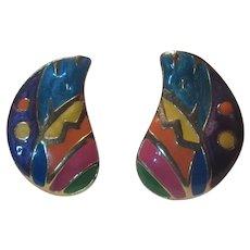 Colorful Enamel Pierced Earrings Wings Shape