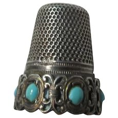 800 Silver Older Thimble Turquoise Bead Accents