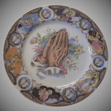 Praying Hands Virgin Mary Crucifix St Therese Hand Painted Plate