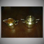 Gold Brocade Cream & Sugar Bowl Set Fine Dining