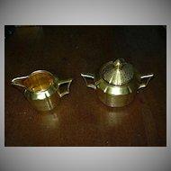 Gold Brocade Cream & Sugar Bowl Set Fine Dining