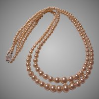 Double Strand Costume Graduated Faux Pearls