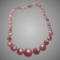 Pink Faux Moonstone Beads Necklace Choker
