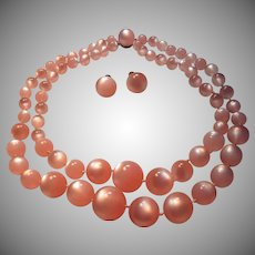 Pink Faux Moonstone Beads Necklace Screw Back Earring Set