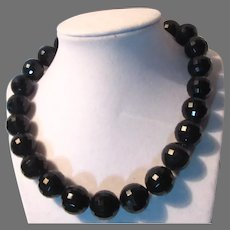 Large Faceted Black Beads Necklace