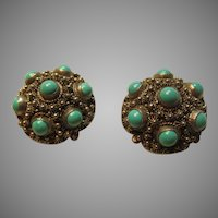 Silver Tone Filigree and Turquoise Stones Clip Earrings