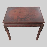 Old Chinese Cinnabar Lacquer Coffee Altar Occasional Table