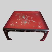Japanese Red Black Lacquer Low Table Abalone Pearl Inlay