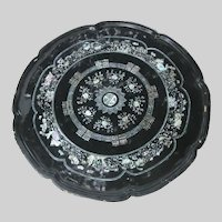 Low Japanese Black Lacquer Folding Tray Table Abalone Inlay
