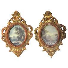 Pair Old Italian Florentine Miniature Picture Frames