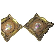 Pair Small Gold Gilt Picture Frames Hand Painted Porcelain Scenes