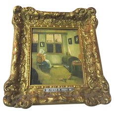 Old Small Gold Gilt Picture Frame Netherlands Ornate With Reading Woman Print