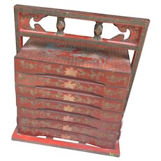 Chinese Lacquer Stacking  Food Boxes In Caddy