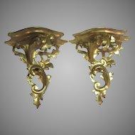 Old Italian Florentine Gold Gilt Gesso & Wood Wall Shelves Platforms