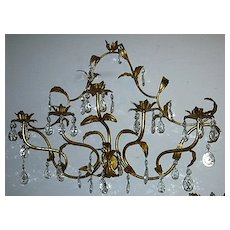 Italian Florentine Gold Gilt Elegant Large Wall Sconce Lighting With Prisms