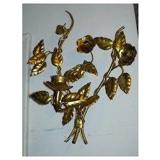 Italian Florentine Gold Gilt Sconce Lighting Wall  Candleholder