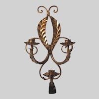 Italian Florentine Gold Gilt Wall Sconce Triple Candleholder