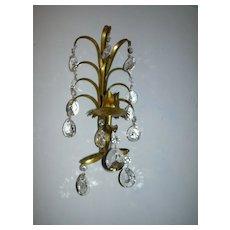 Italian Florentine Gold Gilt Sconce Lighting With Prisms