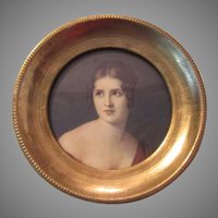Italian Florentine Gilt Wood Framed Miniature Beautiful Lady