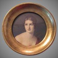 Italian Florentine Gilt Wood Framed Miniature Beautiful Lady