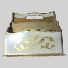 Italian Florentine Desk Letter Rack Holder