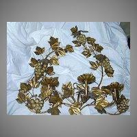 Italian Florentine Gold Gilt Grapes Sconce Lighting Wall  Candleholder