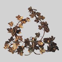 Large Italian Florentine Gold Gilt Wall Sconce Grapes